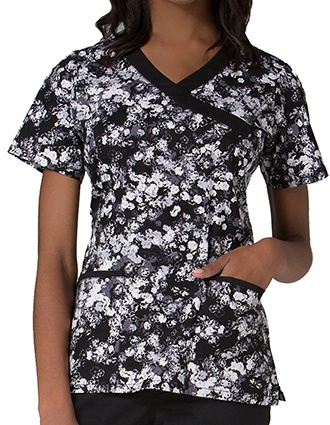Maevn Prints Women's Texture Floral Mock Wrap Top
