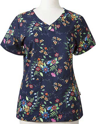 Mary Engelbreit Women's Amidst the Flowers Printed V-Neck Scrub Top