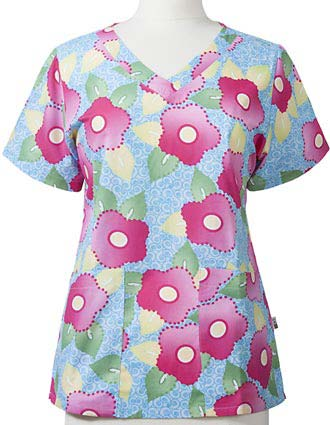 Mary Engelbreit Women's Bouquet of Happiness Printed V-Neck Scrub Top