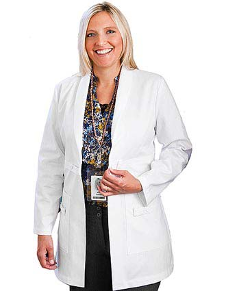 Meta Womens Three Pocket Shawl Collar Medical Lab Coat