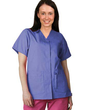 Adar Pro Double Pocket Snap Front Women Nurses Scrub Top-PN-4001