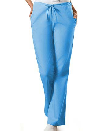 PU Made To Order Women's Drawstring Low Rise Flare Leg Scrub Pants-PU-2000
