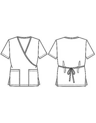 PU Made To Order Women's Nurses Two Pocket Mock Wrap Scrub Top-PU-4036