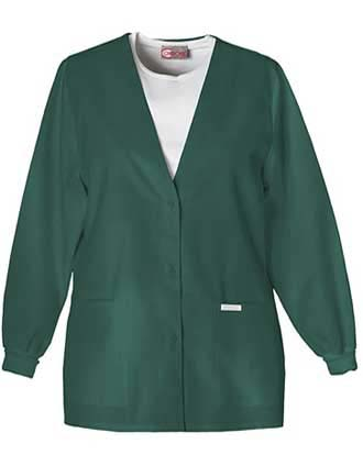 PU Made To Order Women's V-Neck Two Pocket Warm-Up Scrub Jacket-PU-6002