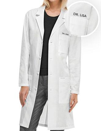 Unisex 40 Inches Free Embroidery Three Pocket Long Lab Coat-PU-8001