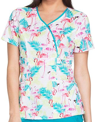 Runway Tropical Paradise Women's Flamingo Fantasy Print Mock Wrap Top