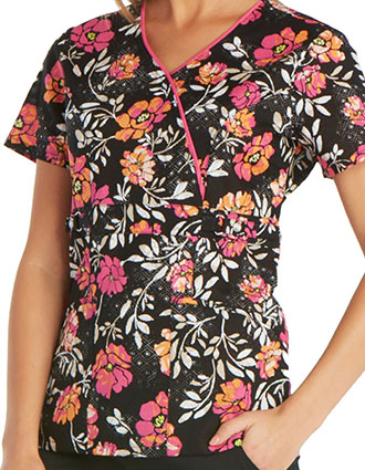 Runway Pretty In Pink Women's Mixed Petals Floral Print Top
