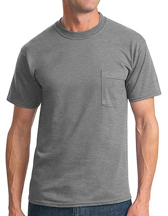 Sanmar JERZEES Men Single Pocket Cotton-Poly Short Sleeved T-Shirt-SA-29MP