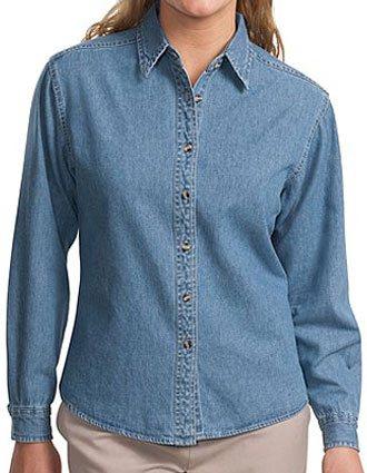 Sanmar Port Authority Womens Button Front Long Sleeve Denim Shirt-SA-L600D