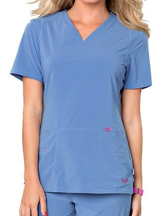 Smitten Women's Rock Goddess V-neck Scrub Top-SM-S101002