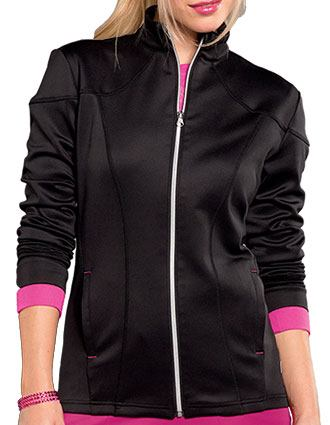 Smitten Women's Silver Zip Front Warm-Up Jacket