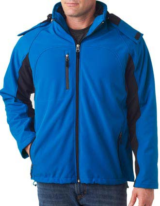 UltraClub Adult Color Block 3-in-1 Systems Hooded Soft Shell Jacket-UL-8290