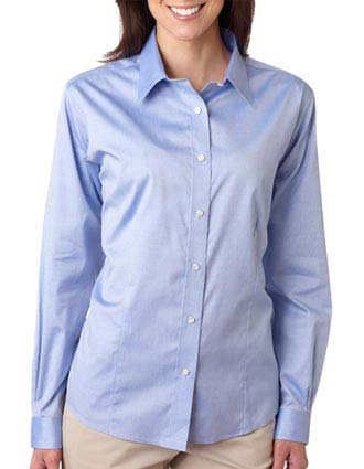 8381 UltraClub® Ladies' Non-Iron Pinpoint Shirt-UL-8381