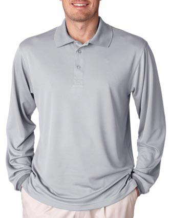 UltraClub Adult Cool & Dry Mesh Sport Long-Sleeve Polo-UL-8405LS