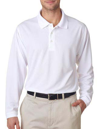 UltraClub Adult Cool & Dry Long-Sleeve Stain-Release Performance Polo-UL-8445LS