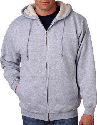 8450 UltraClub Adult Sherpa-Lined Full-Zip Fleece with Hood-UL-8450