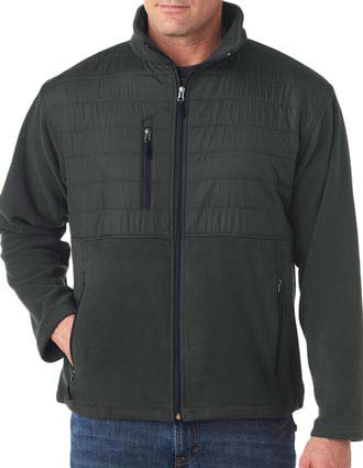 8492 UltraClub Adult Fleece Jacket with Quilted Yoke Overlay-UL-8492