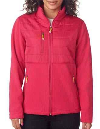 8493 UltraClub Ladies' Fleece Jacket with Quilted Yoke Overlay-UL-8493