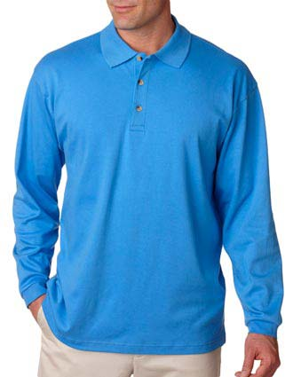 8501 UltraClub Men's Egyptian Interlock Long-Sleeve Polo-UL-8501