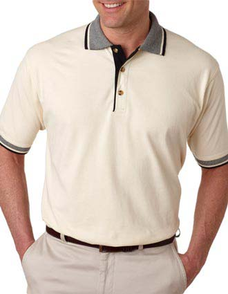 UltraClub Adult Color-Body Classic Piqué Polo with Multi-Stripe Trim-UL-8537