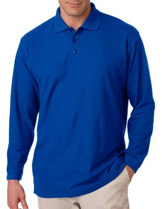 8542 UltraClub® Adult Long-Sleeve Whisper Piqué Polo-UL-8542