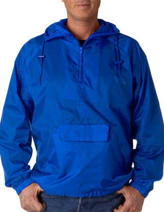 8925 UltraClub® Adult 1/4-Zip Hooded Pullover Pack-Away Jacket