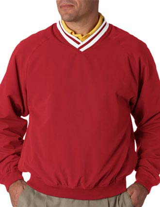 UltraClub Adult Long-Sleeve Microfiber Cross-Over V-Neck Windshirt-UL-8926