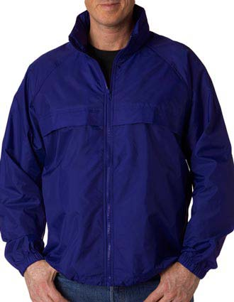 UltraClub® Adult Hooded Zip-Front Pack-Away Jacket-UL-8929