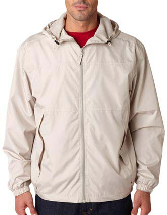 UltraClub® Adult Micro-Poly Full-Zip Jacket with Hood-UL-8935