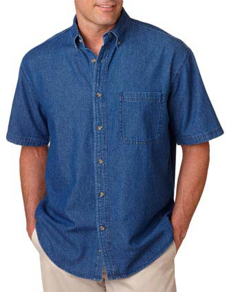 8965 UltraClub® Adult Short-Sleeve Cypress Denim with Pocket