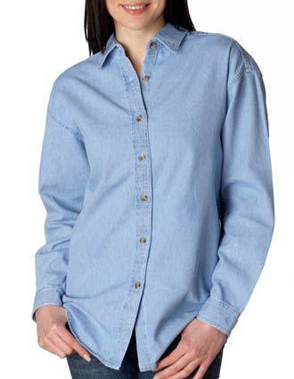 8966 UltraClub® Ladies' Long-Sleeve Cypress Denim-UL-8966