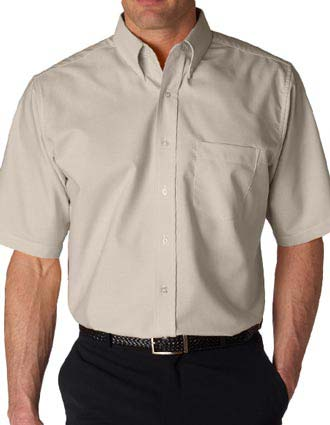 UltraClub® Men's Tall Classic Wrinkle-Free Short-Sleeve Oxford-UL-8972T
