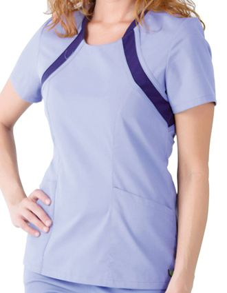 Urbane Sport Women Pique Inset Scoop Neck Nurses Scrub Top-UR-9005