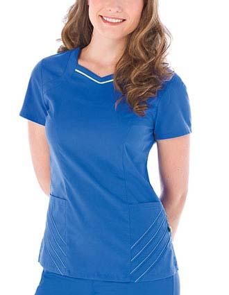 Urbane Women Chevron Stitched Solid Nursing Scrub Top-UR-9012