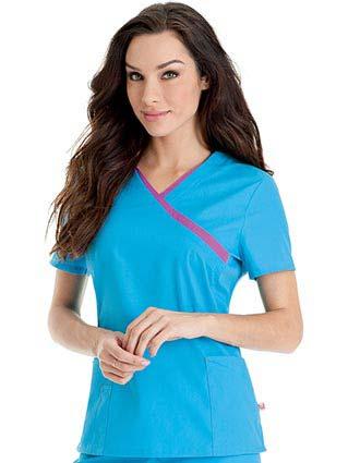 Urbane Women Contrast Tipped Surplice Nursing Scrub Top-UR-9406