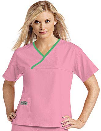 Urbane Womens Classic Single Pocket Crossover Scrub Top-UR-9501