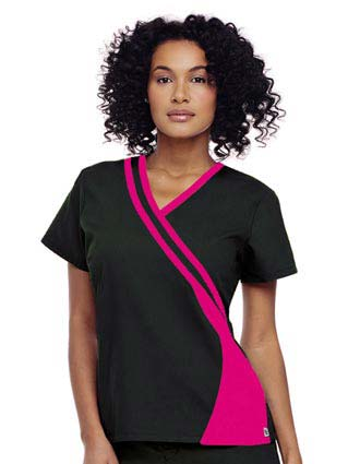 Urbane Womens Double Piped V-Neck Nurses Scrub Top-UR-9518