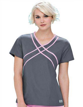 Urbane Womens Two Pocket Crisscross Contrast Trim Nurse Scrub Top