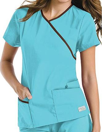 Urbane Women Contrast Wrap Around Tunic Medical Scrub Top-UR-9568