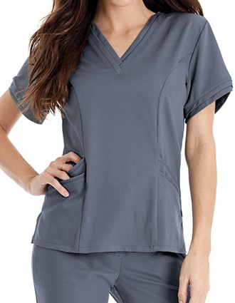 Urbane Women's Ella Double V-Neck Nursing Scrub Top-UR-9576