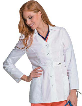 Urbane Womens Two Pocket 28.5 inch Short Medical Lab Coat