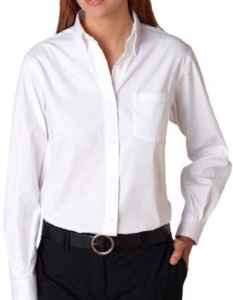 Van Heusen Ladies' Long Sleeve Blended Pinpoint Oxford-VA-V0110