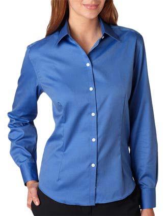 V0144 Van Heusen Ladies' Long-Sleeve Non-Iron Pinpoint Oxford-VA-V0144