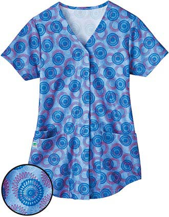 White Swan Fusion Womens Snap Front Shirt Tail Junction Scrub Top