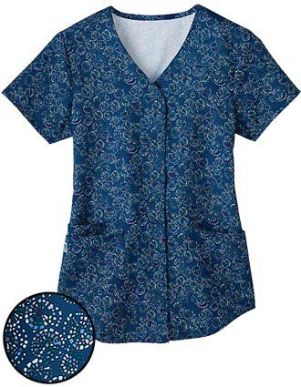 White Swan Fusion Womens Snap Front Shirt Tail Medley Scrub Top