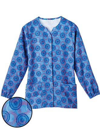 White Swan Fusion Womens Notched Jewel Neck Junction Scrub Jacket