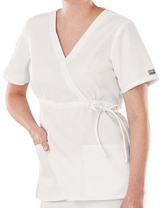White Swan Fundamentals Women Tie Belt Mock Wrap Scrub Top-WH-14348