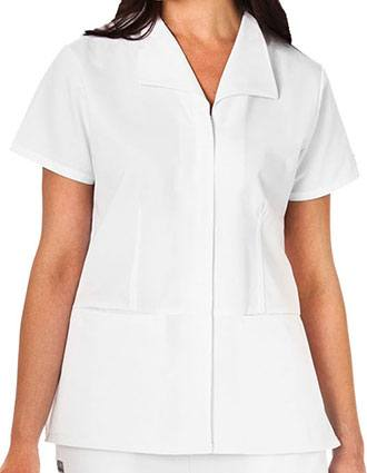 White Swan Fundamentals Ladies Zip Front Wing Collar Top-WH-14359