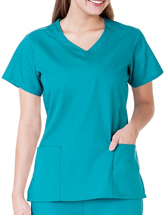 White Swan Fundamentals Ladies Overlap V-Neck Scrub Top-WH-14364