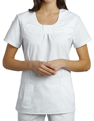 White Cross Women's Pleated Jewel-neck Solid top